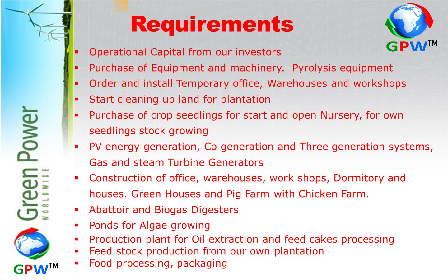 Requirements  Operational Capital from our investors  Purchase of Equipment and machinery.