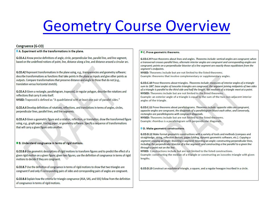 Geometry Course Overview
