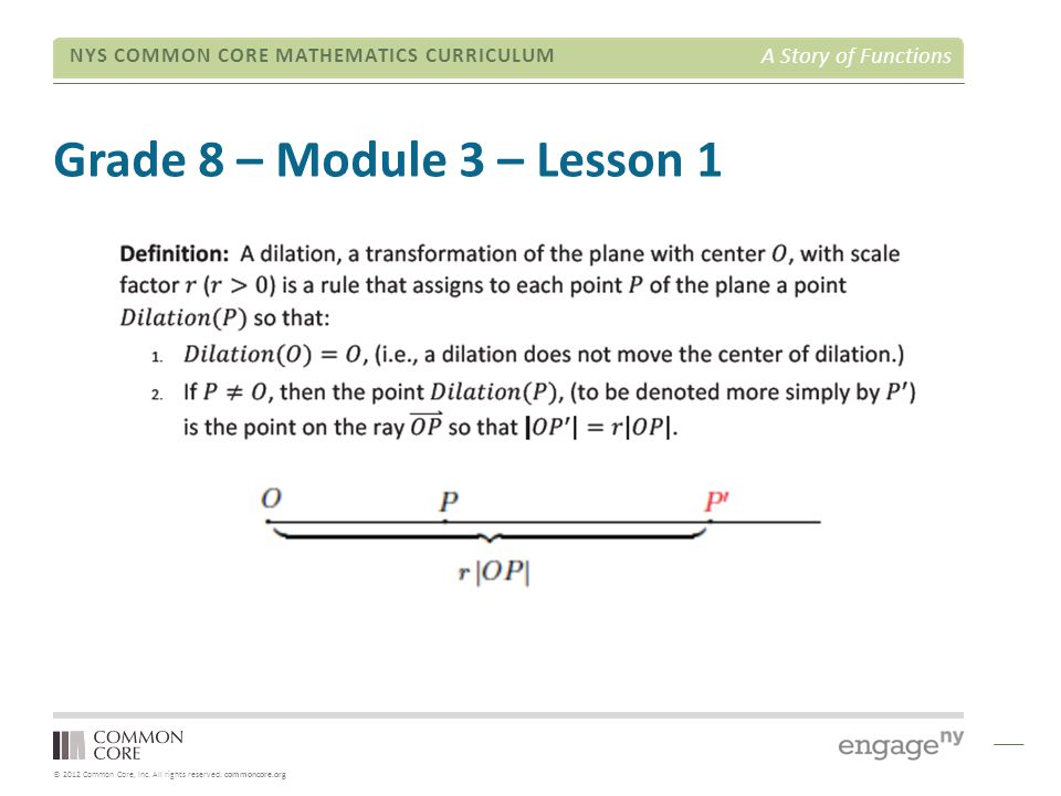 © 2012 Common Core, Inc. All rights reserved. commoncore.org NYS COMMON CORE MATHEMATICS CURRICULUM A Story of Functions Grade 8 – Module 3 – Lesson 1