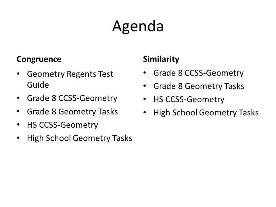 Agenda Congruence Geometry Regents Test Guide Grade 8 CCSS-Geometry Grade 8 Geometry Tasks HS CCSS-Geometry High School Geometry Tasks Similarity Grad