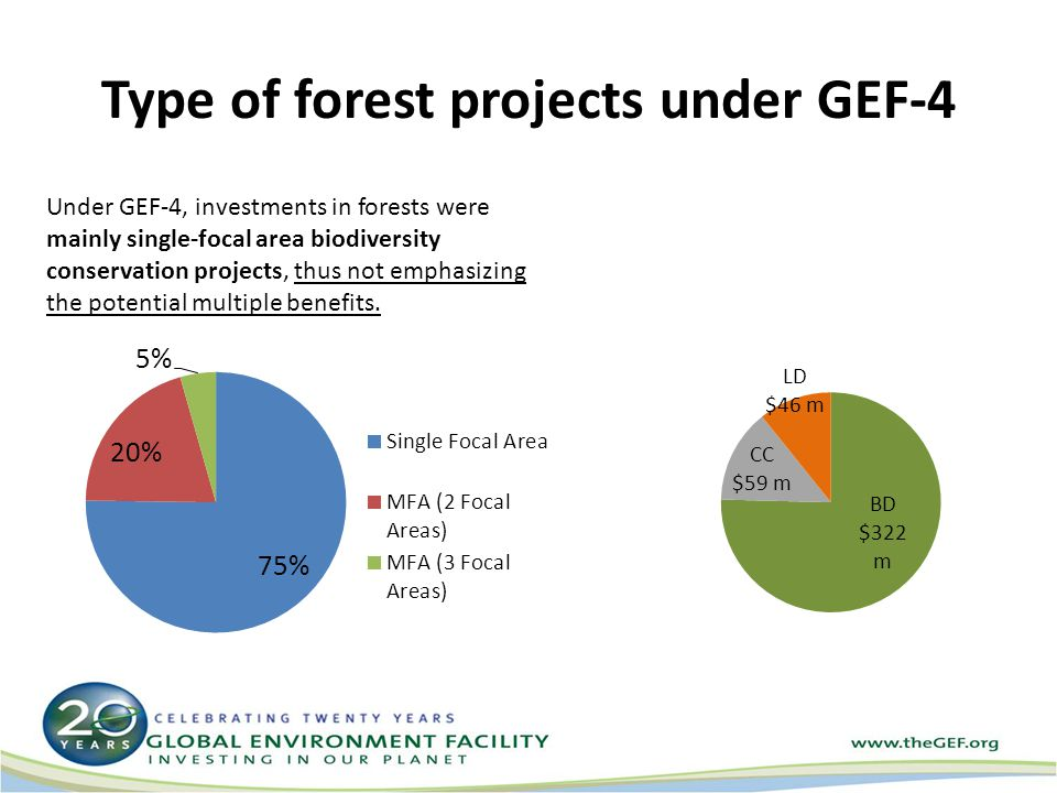 Under GEF-4, investments in forests were mainly single-focal area biodiversity conservation projects, thus not emphasizing the potential multiple benefits.