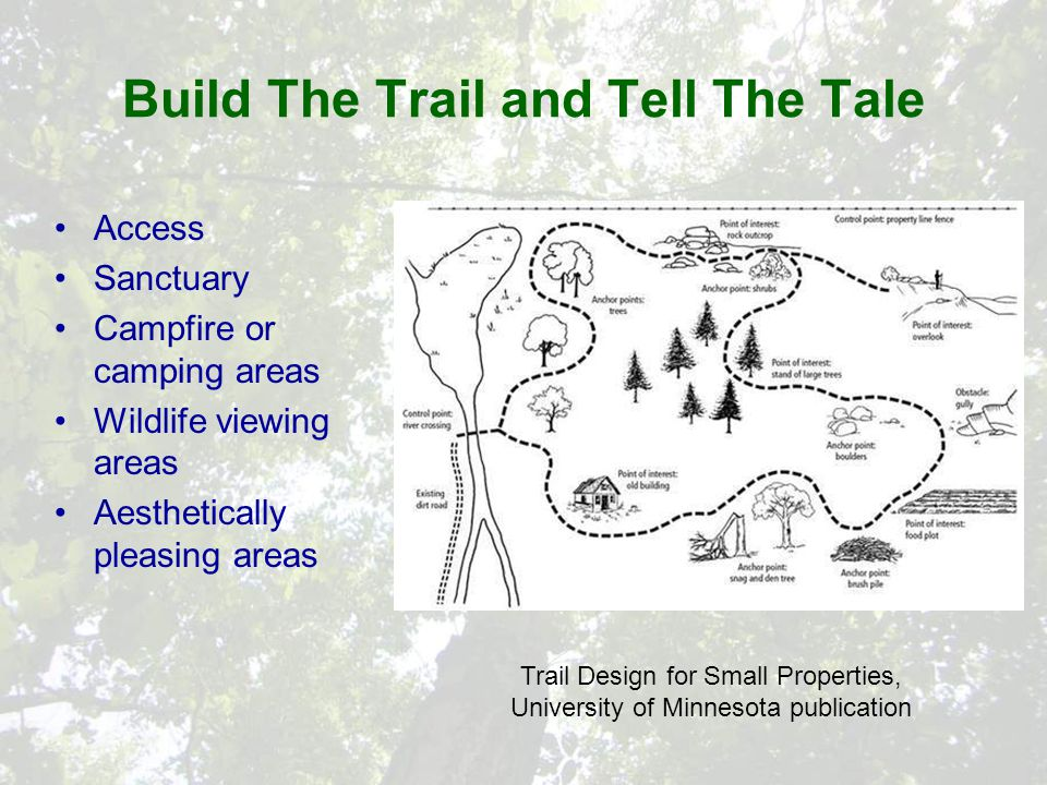 Build The Trail and Tell The Tale Access Sanctuary Campfire or camping areas Wildlife viewing areas Aesthetically pleasing areas Trail Design for Small Properties, University of Minnesota publication