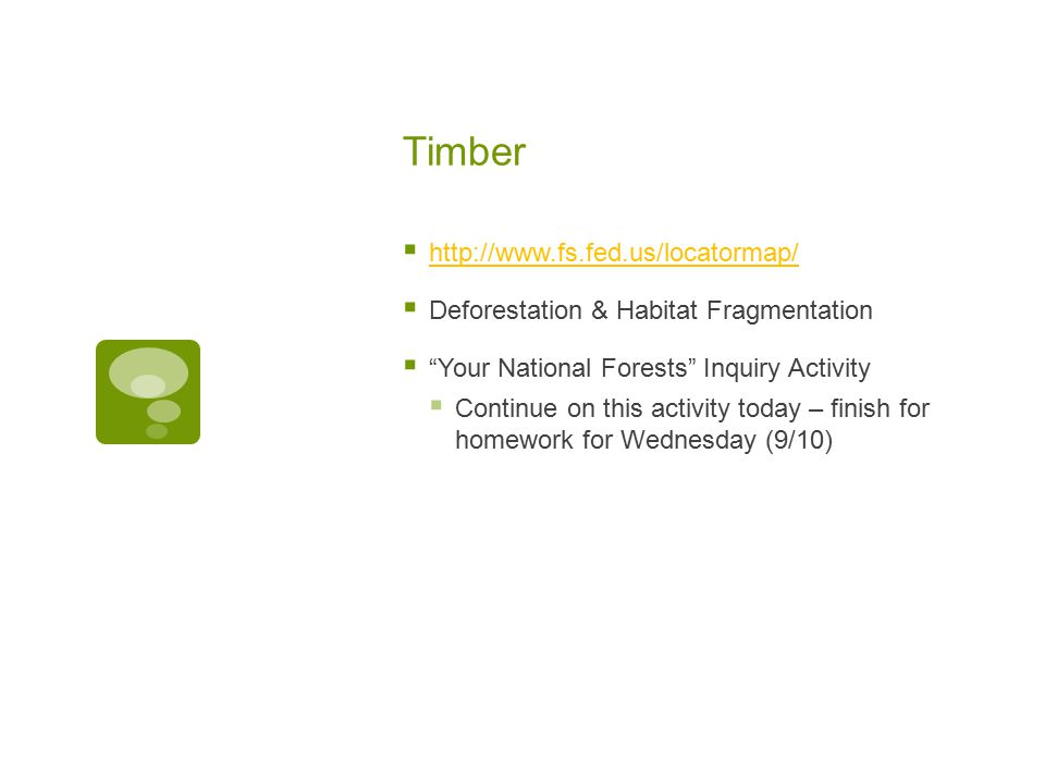 Timber  http://www.fs.fed.us/locatormap/ http://www.fs.fed.us/locatormap/  Deforestation & Habitat Fragmentation  Your National Forests Inquiry Activity  Continue on this activity today – finish for homework for Wednesday (9/10)