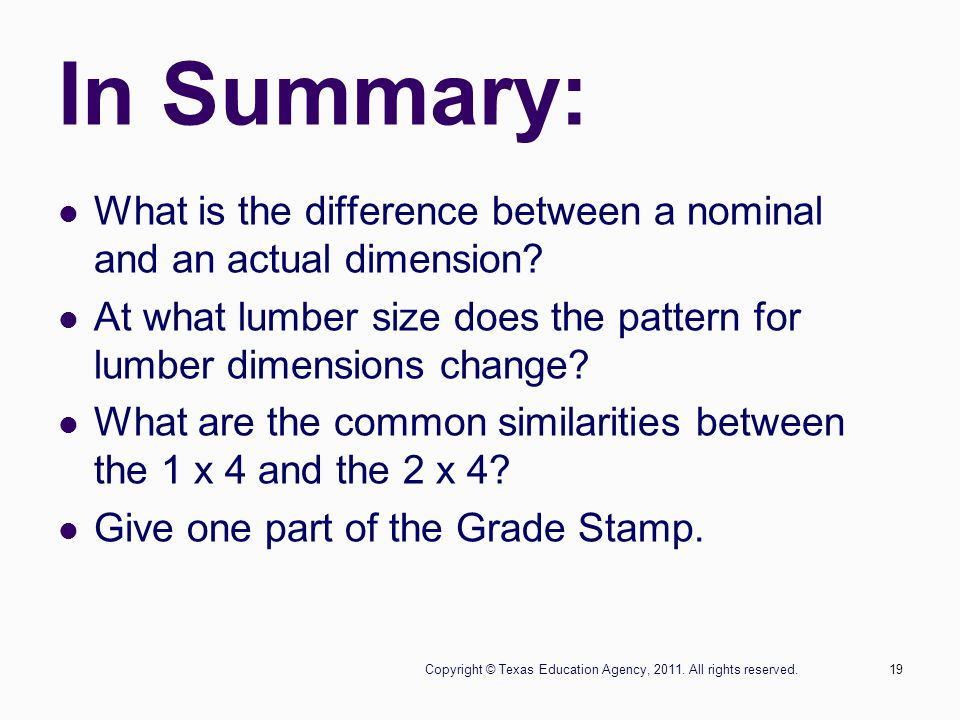 Copyright © Texas Education Agency, 2011. All rights reserved.19 In Summary: What is the difference between a nominal and an actual dimension? At what