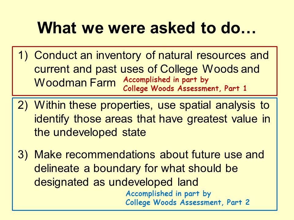 What we were asked to do… 1)Conduct an inventory of natural resources and current and past uses of College Woods and Woodman Farm 2)Within these properties, use spatial analysis to identify those areas that have greatest value in the undeveloped state 3)Make recommendations about future use and delineate a boundary for what should be designated as undeveloped land Accomplished in part by College Woods Assessment, Part 1 Accomplished in part by College Woods Assessment, Part 2