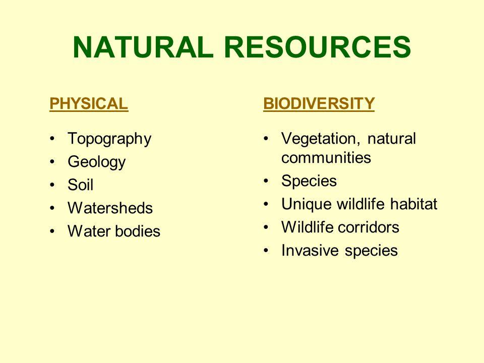 NATURAL RESOURCES PHYSICAL Topography Geology Soil Watersheds Water bodies BIODIVERSITY Vegetation, natural communities Species Unique wildlife habitat Wildlife corridors Invasive species