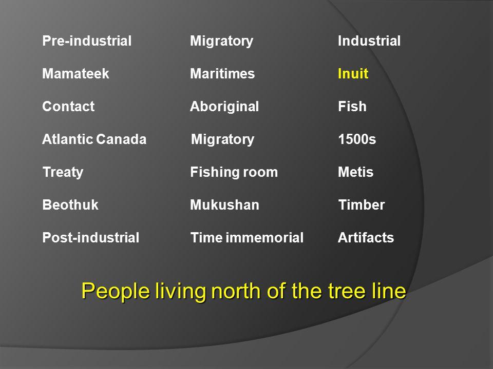 Pre-industrial Migratory Industrial Mamateek MaritimesInuit ContactAboriginal Fish Atlantic Canada Migratory 1500s TreatyFishing roomMetis BeothukMuku