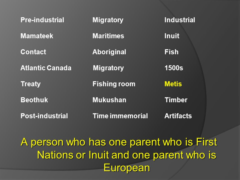 Pre-industrial Migratory Industrial Mamateek MaritimesInuit ContactAboriginal Fish Atlantic Canada Migratory 1500s TreatyFishing roomMetis BeothukMukushanTimber Post-industrialTime immemorialArtifacts A person who has one parent who is First Nations or Inuit and one parent who is European