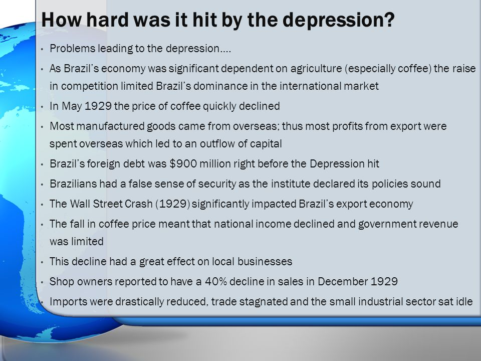 Problems leading to the depression….