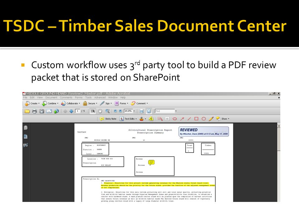  Custom workflow uses 3 rd party tool to build a PDF review packet that is stored on SharePoint