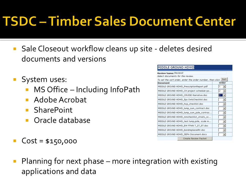  Sale Closeout workflow cleans up site - deletes desired documents and versions  System uses:  MS Office – Including InfoPath  Adobe Acrobat  SharePoint  Oracle database  Cost = $150,000  Planning for next phase – more integration with existing applications and data