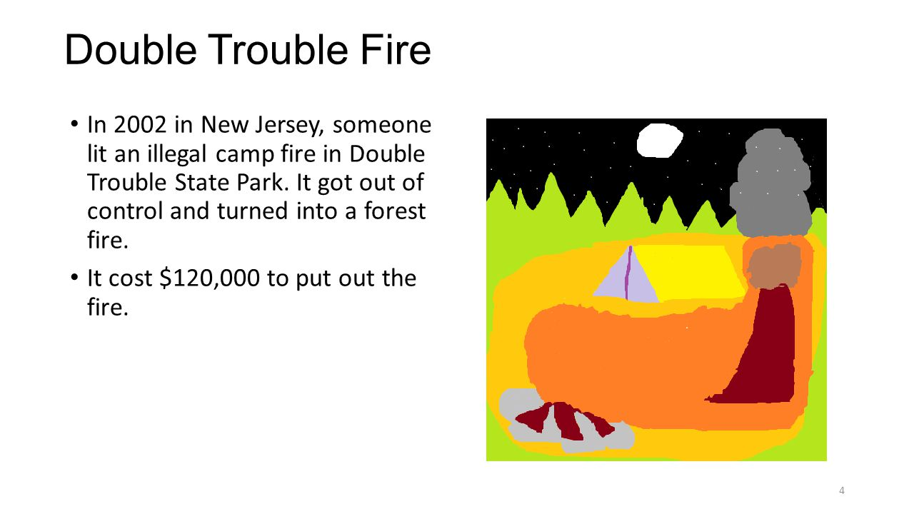 Double Trouble Fire In 2002 in New Jersey, someone lit an illegal camp fire in Double Trouble State Park.