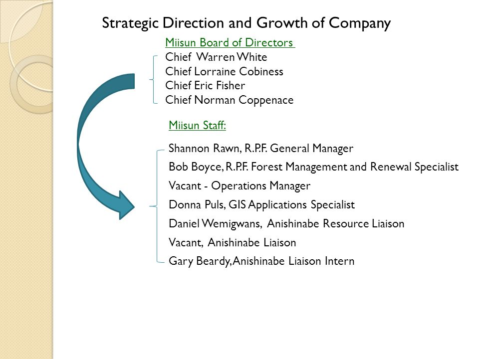 Miisun Board of Directors Chief Warren White Chief Lorraine Cobiness Chief Eric Fisher Chief Norman Coppenace Strategic Direction and Growth of Compan