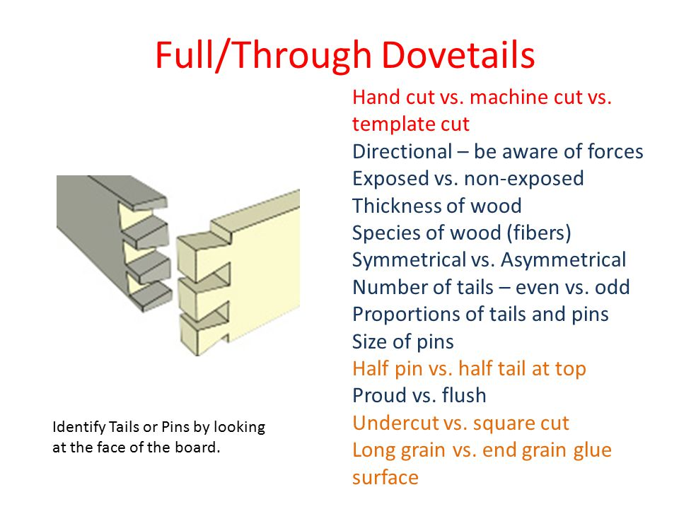 Doweled Dovetail Dovetails for strength Dowels are quicker and added for strength Interesting look