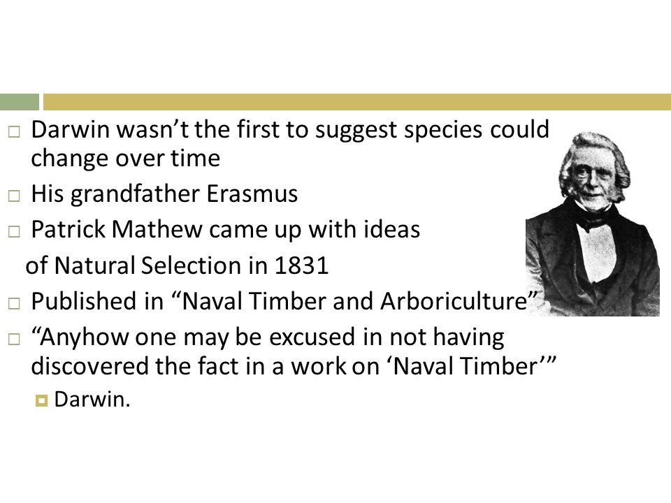  Darwin wasn't the first to suggest species could change over time  His grandfather Erasmus  Patrick Mathew came up with ideas of Natural Selection in 1831  Published in Naval Timber and Arboriculture  Anyhow one may be excused in not having discovered the fact in a work on 'Naval Timber'  Darwin.