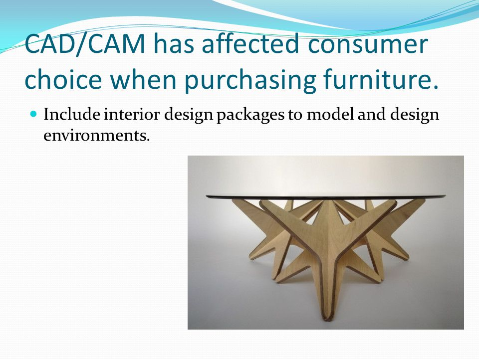 CAD/CAM has affected consumer choice when purchasing furniture. Include interior design packages to model and design environments.