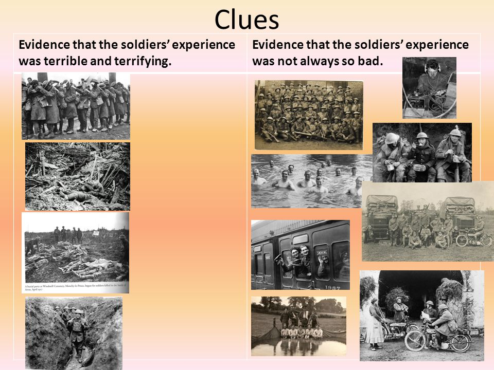 Clues Evidence that the soldiers' experience was terrible and terrifying.