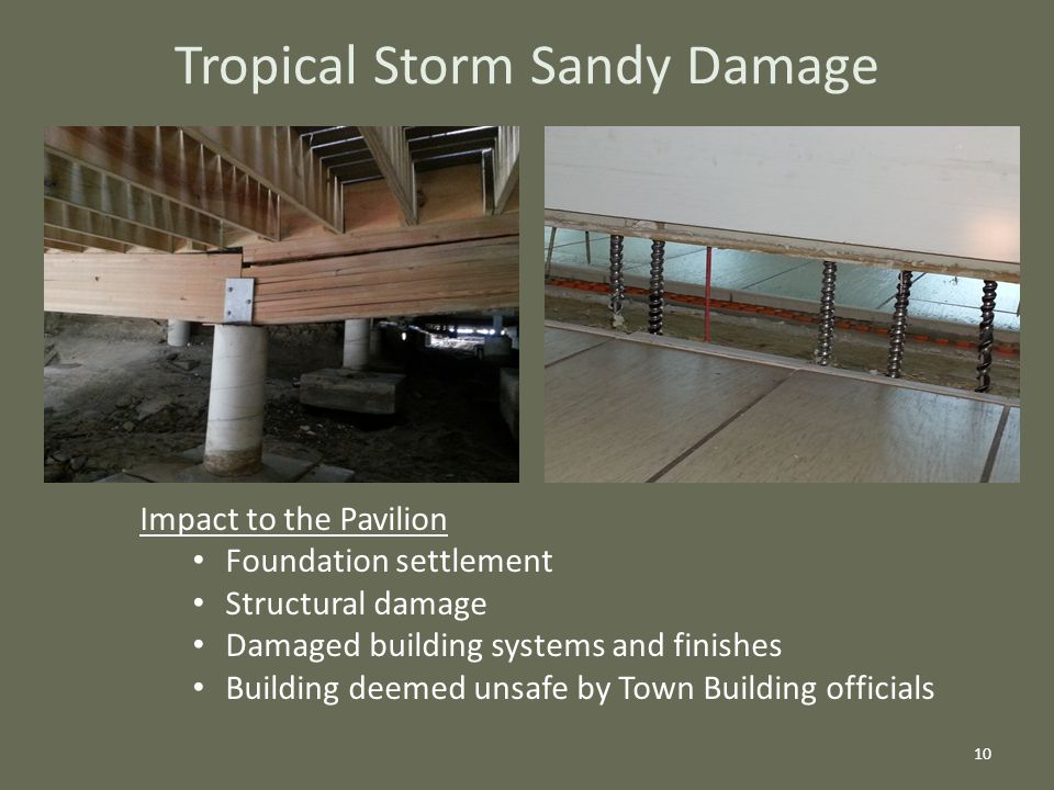 Tropical Storm Sandy Damage 10 Impact to the Pavilion Foundation settlement Structural damage Damaged building systems and finishes Building deemed unsafe by Town Building officials