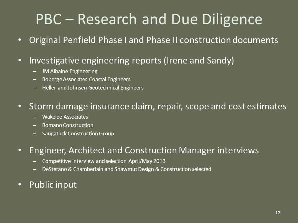 Original Penfield Phase I and Phase II construction documents Investigative engineering reports (Irene and Sandy) – JM Albaine Engineering – Roberge A