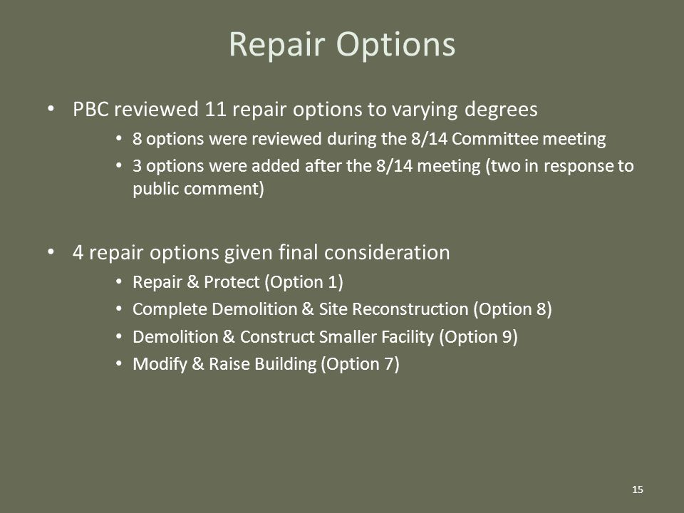 Repair Options PBC reviewed 11 repair options to varying degrees 8 options were reviewed during the 8/14 Committee meeting 3 options were added after