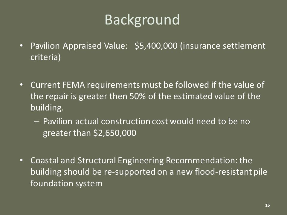 Background Pavilion Appraised Value: $5,400,000 (insurance settlement criteria) Current FEMA requirements must be followed if the value of the repair