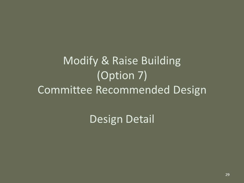 Modify & Raise Building (Option 7) Committee Recommended Design Design Detail 29