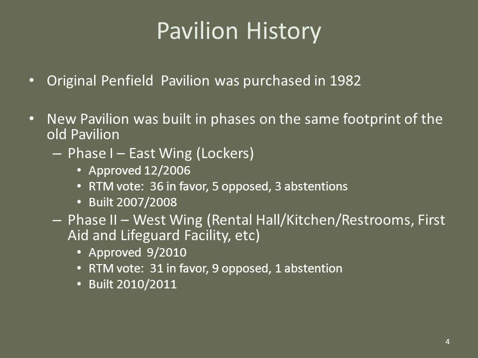 Pavilion History Original Penfield Pavilion was purchased in 1982 New Pavilion was built in phases on the same footprint of the old Pavilion – Phase I