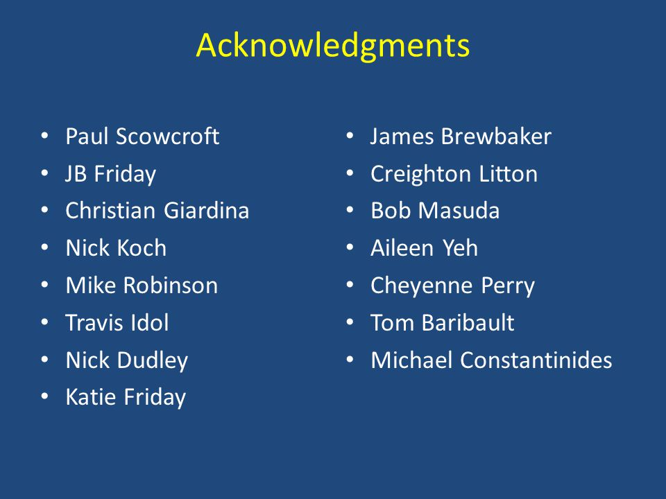 Acknowledgments Paul Scowcroft JB Friday Christian Giardina Nick Koch Mike Robinson Travis Idol Nick Dudley Katie Friday James Brewbaker Creighton Lit