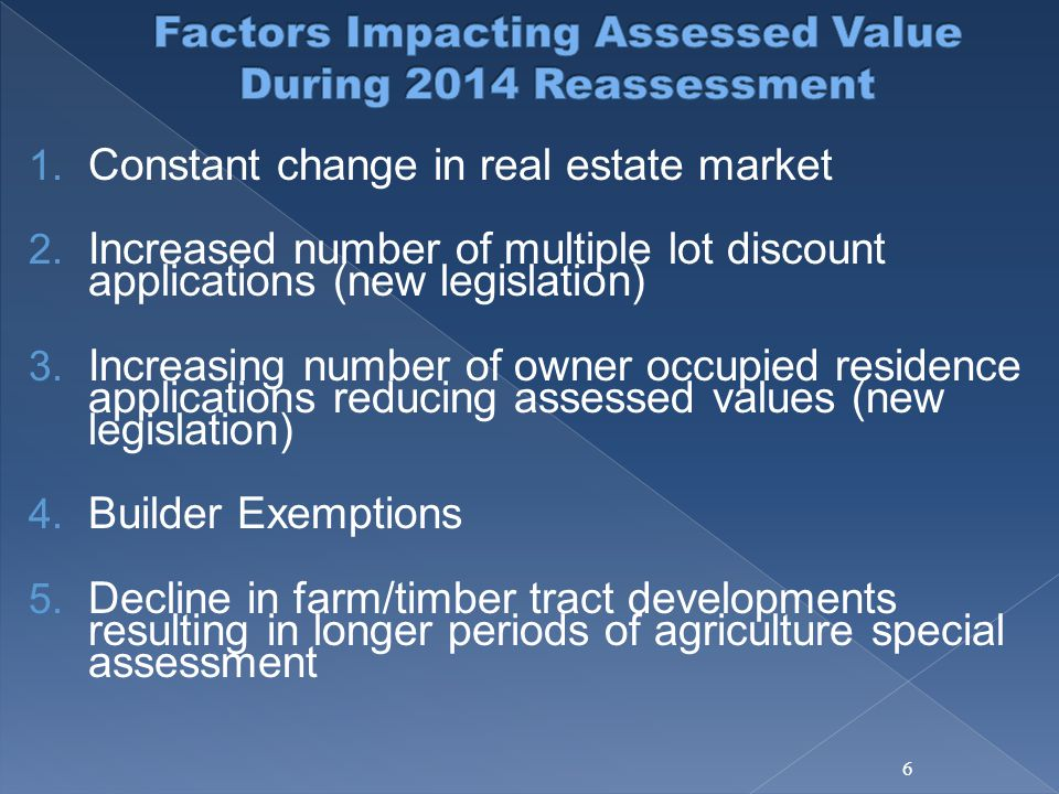 1. Constant change in real estate market 2. Increased number of multiple lot discount applications (new legislation) 3. Increasing number of owner occ