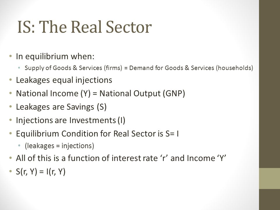 IS: The Real Sector In equilibrium when: Supply of Goods & Services (firms) = Demand for Goods & Services (households) Leakages equal injections National Income (Y) = National Output (GNP) Leakages are Savings (S) Injections are Investments (I) Equilibrium Condition for Real Sector is S= I (leakages = injections) All of this is a function of interest rate 'r' and Income 'Y' S(r, Y) = I(r, Y)