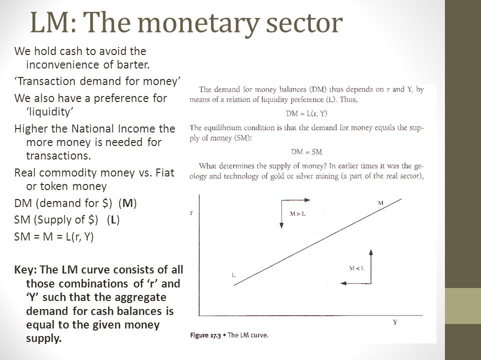 LM: The monetary sector We hold cash to avoid the inconvenience of barter.