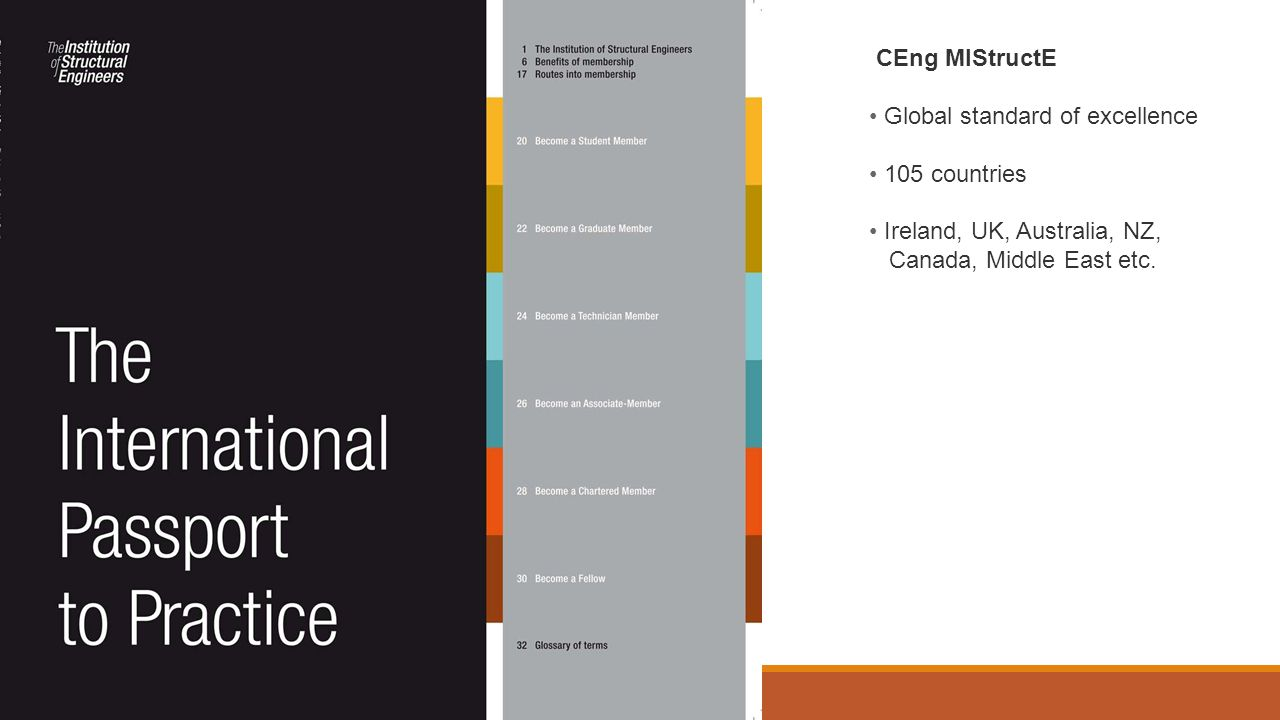 CEng MIStructE Global standard of excellence 105 countries Ireland, UK, Australia, NZ, Canada, Middle East etc.