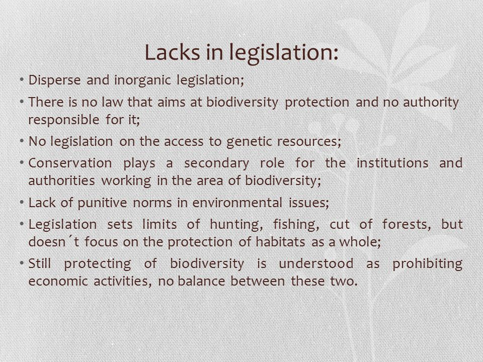Lacks in legislation: Disperse and inorganic legislation; There is no law that aims at biodiversity protection and no authority responsible for it; No legislation on the access to genetic resources; Conservation plays a secondary role for the institutions and authorities working in the area of biodiversity; Lack of punitive norms in environmental issues; Legislation sets limits of hunting, fishing, cut of forests, but doesn´t focus on the protection of habitats as a whole; Still protecting of biodiversity is understood as prohibiting economic activities, no balance between these two.