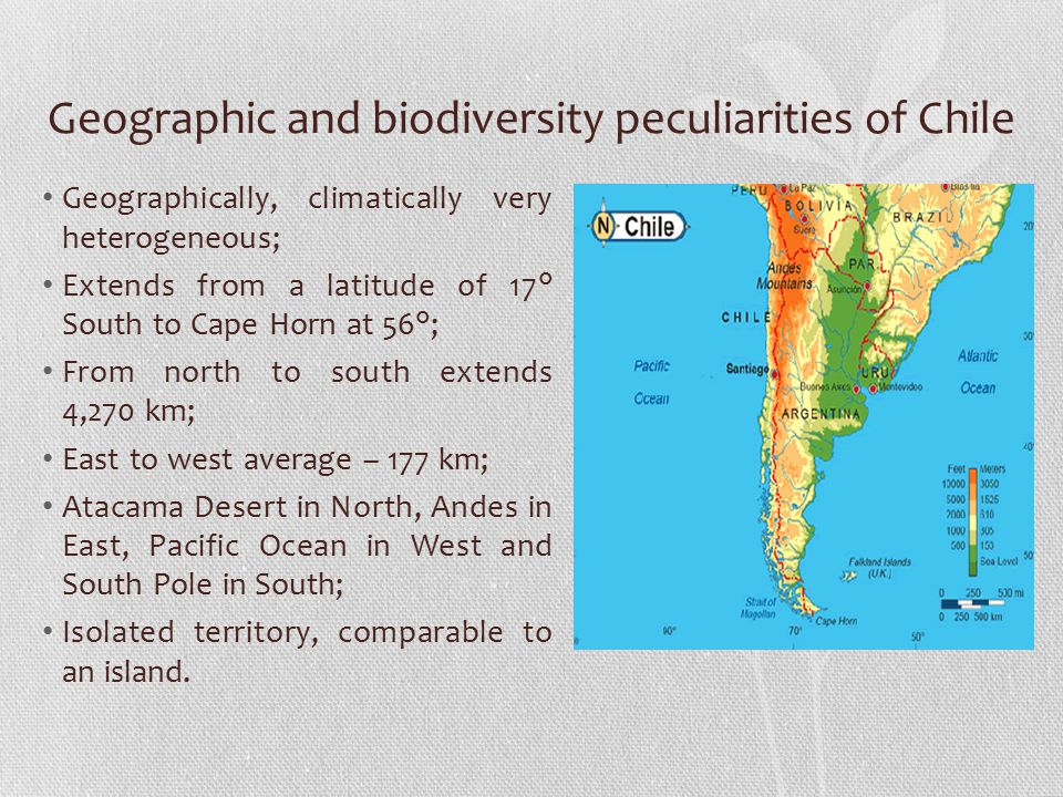 Geographic and biodiversity peculiarities of Chile Geographically, climatically very heterogeneous; Extends from a latitude of 17° South to Cape Horn at 56°; From north to south extends 4,270 km; East to west average – 177 km; Atacama Desert in North, Andes in East, Pacific Ocean in West and South Pole in South; Isolated territory, comparable to an island.