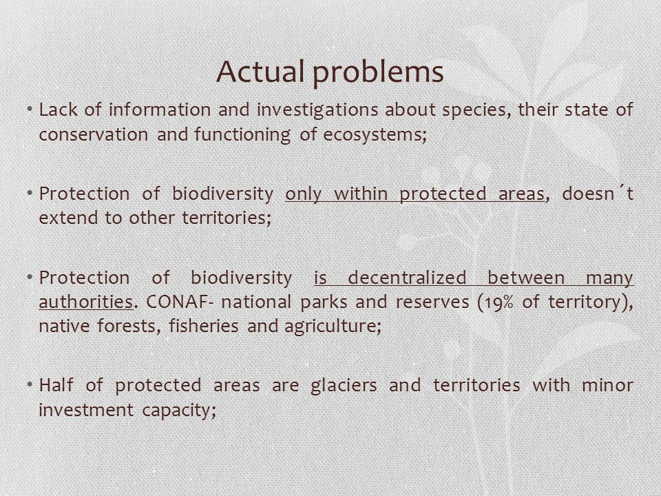 Actual problems Lack of information and investigations about species, their state of conservation and functioning of ecosystems; Protection of biodiversity only within protected areas, doesn´t extend to other territories; Protection of biodiversity is decentralized between many authorities.