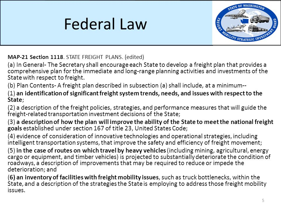 Federal Law MAP-21 Section 1118. STATE FREIGHT PLANS.