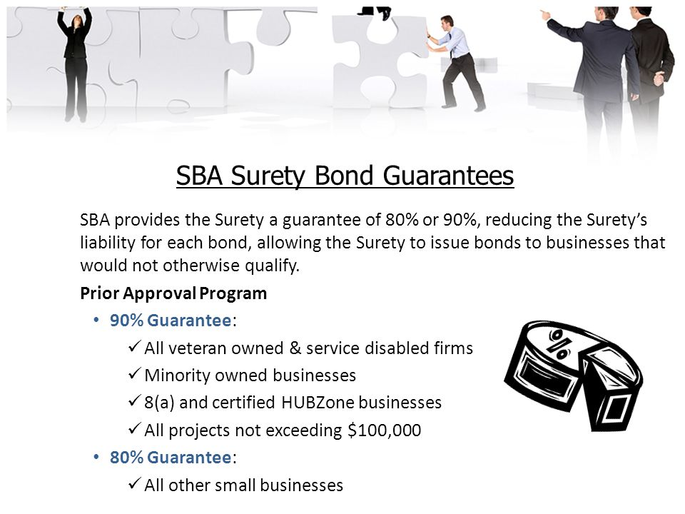 SBA Surety Bond Guarantees SBA provides the Surety a guarantee of 80% or 90%, reducing the Surety's liability for each bond, allowing the Surety to issue bonds to businesses that would not otherwise qualify.