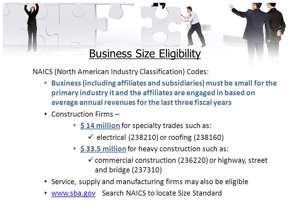 Business Size Eligibility NAICS (North American Industry Classification) Codes: Business (including affiliates and subsidiaries) must be small for the primary industry it and the affiliates are engaged in based on average annual revenues for the last three fiscal years Construction Firms – $ 14 million for specialty trades such as: electrical (238210) or roofing (238160) $ 33.5 million for heavy construction such as: commercial construction (236220) or highway, street and bridge (237310) Service, supply and manufacturing firms may also be eligible www.sba.govSearch NAICS to locate Size Standard www.sba.gov