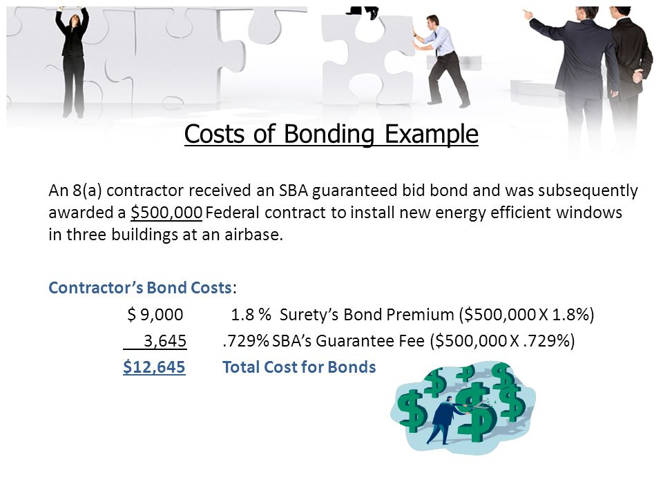 Costs of Bonding Example An 8(a) contractor received an SBA guaranteed bid bond and was subsequently awarded a $500,000 Federal contract to install new energy efficient windows in three buildings at an airbase.