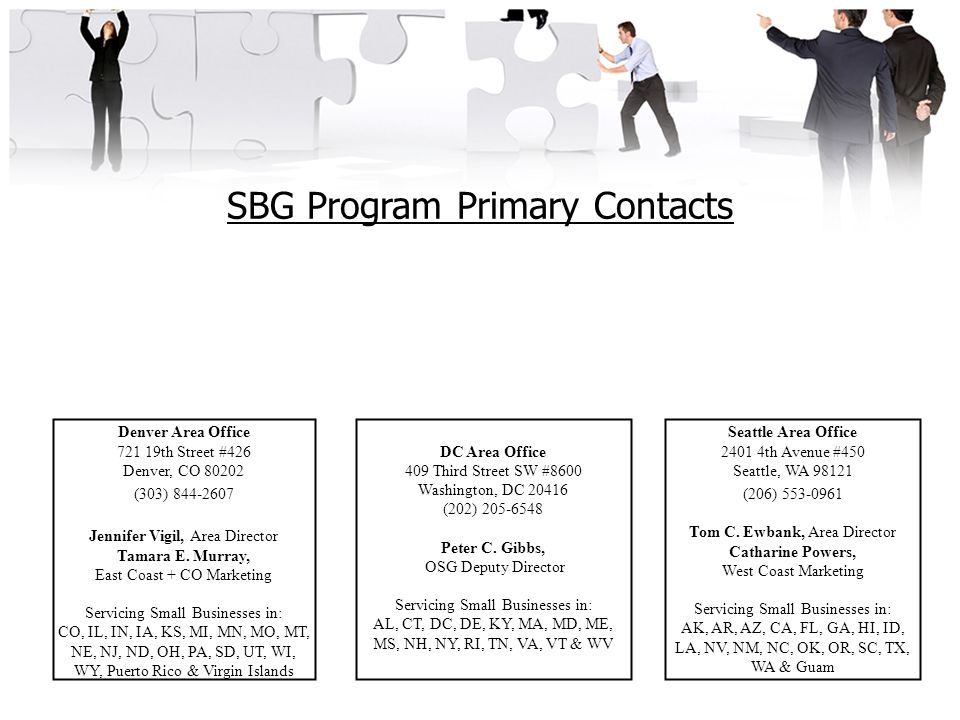 SBG Program Primary Contacts Denver Area Office 721 19th Street #426 Denver, CO 80202 (303) 844-2607 Jennifer Vigil, Area Director Tamara E.