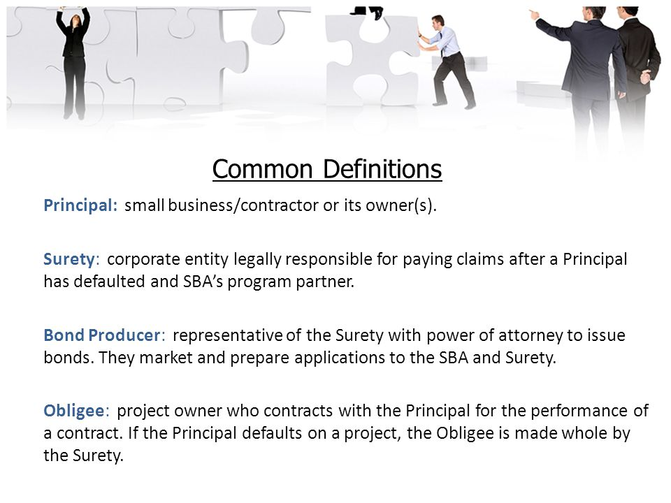 Common Definitions Principal: small business/contractor or its owner(s).