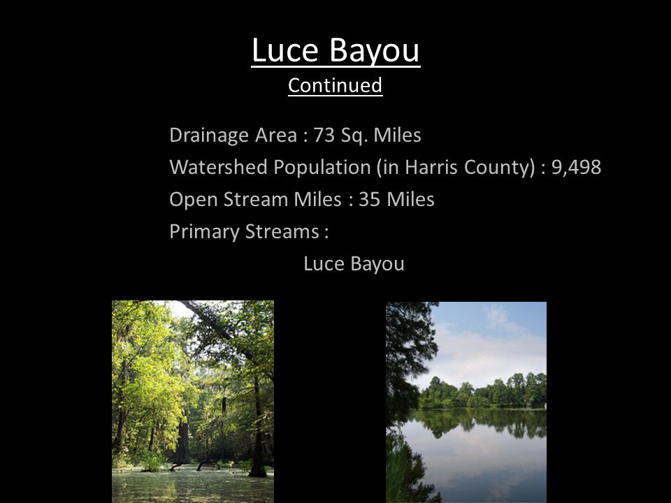 Luce Bayou Continued Drainage Area : 73 Sq. Miles Watershed Population (in Harris County) : 9,498 Open Stream Miles : 35 Miles Primary Streams : Luce