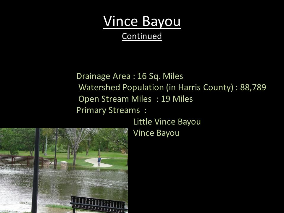 Vince Bayou Continued Drainage Area : 16 Sq. Miles Watershed Population (in Harris County) : 88,789 Open Stream Miles : 19 Miles Primary Streams : Lit