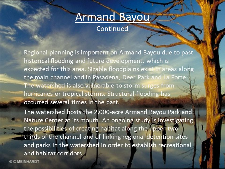 Armand Bayou Continued Regional planning is important on Armand Bayou due to past historical flooding and future development, which is expected for this area.