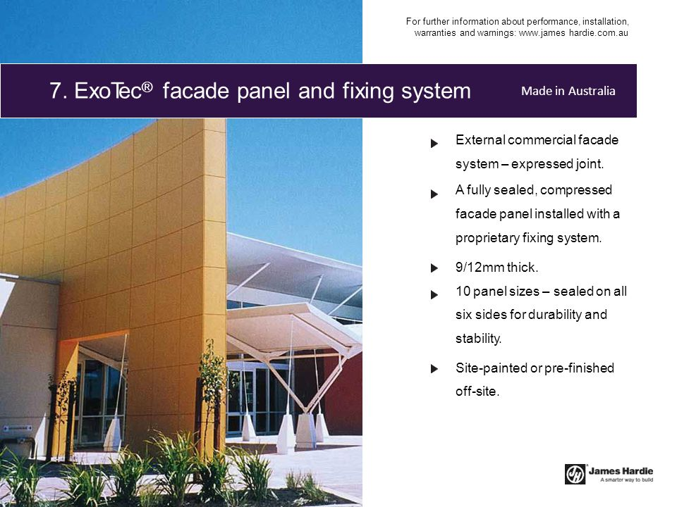 External commercial facade system – expressed joint. A fully sealed, compressed facade panel installed with a proprietary fixing system. 9/12mm thick.