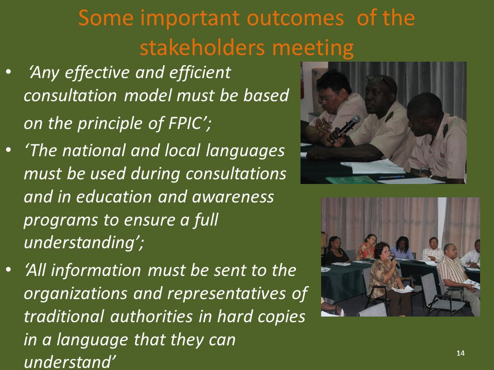 Some important outcomes of the stakeholders meeting 'Any effective and efficient consultation model must be based on the principle of FPIC'; 'The national and local languages must be used during consultations and in education and awareness programs to ensure a full understanding'; 'All information must be sent to the organizations and representatives of traditional authorities in hard copies in a language that they can understand' 14