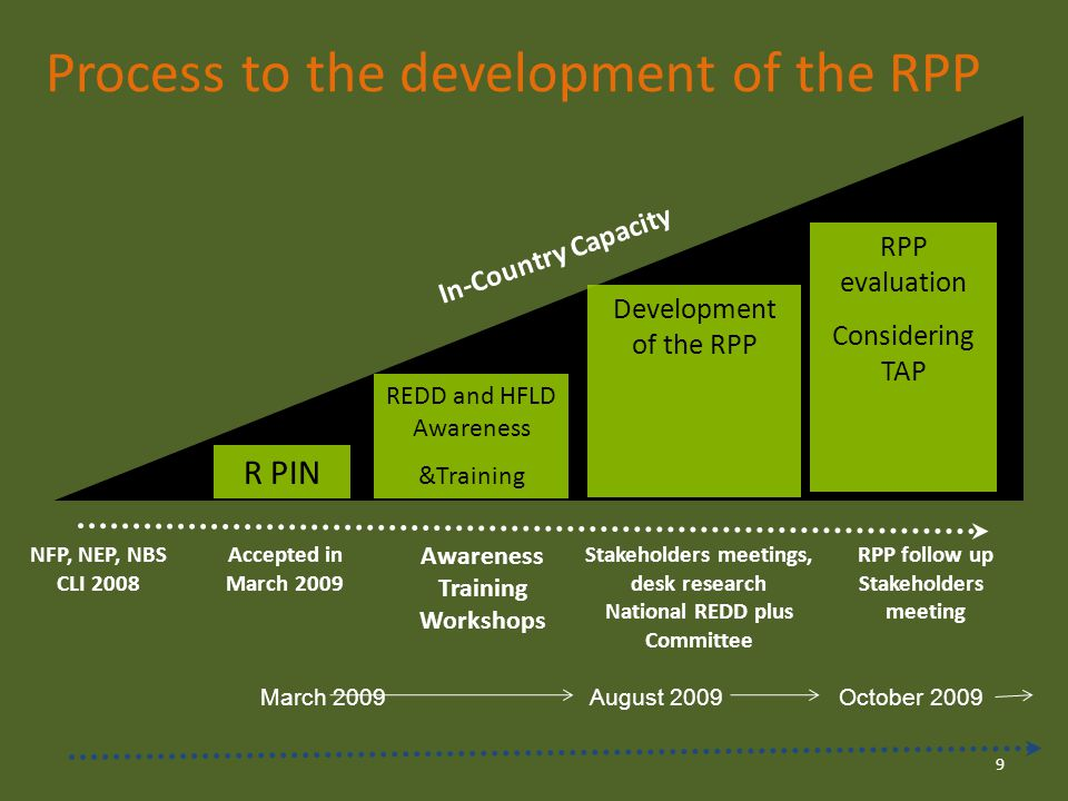 Process to the development of the RPP R PIN REDD and HFLD Awareness &Training Development of the RPP Stakeholders meetings, desk research National REDD plus Committee Accepted in March 2009 In-Country Capacity RPP follow up Stakeholders meeting RPP evaluation Considering TAP Awareness Training Workshops 9 NFP, NEP, NBS CLI 2008 March 2009August 2009October 2009