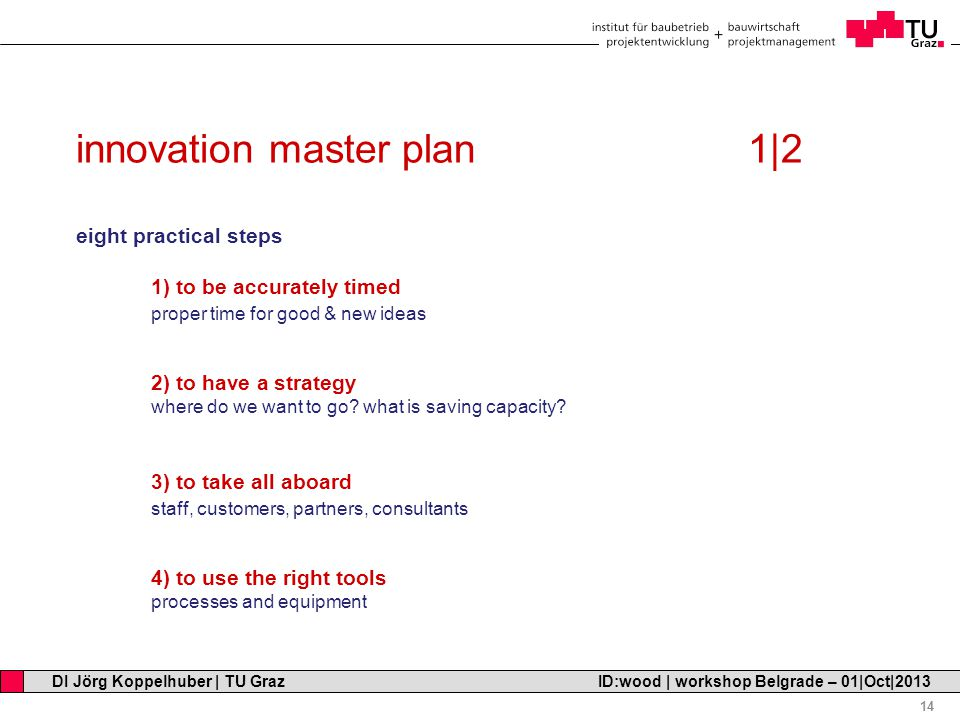 Professor Horst Cerjak, 19.12.2005 14 DI Jörg Koppelhuber | TU Graz ID:wood | workshop Belgrade – 01|Oct|2013 innovation master plan1|2 eight practical steps 1) to be accurately timed proper time for good & new ideas 2) to have a strategy where do we want to go.