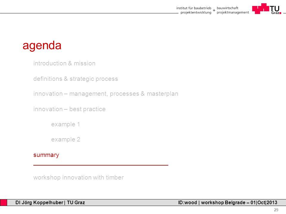 Professor Horst Cerjak, 19.12.2005 29 DI Jörg Koppelhuber   TU Graz ID:wood   workshop Belgrade – 01 Oct 2013 agenda introduction & mission definitions & strategic process innovation – management, processes & masterplan innovation – best practice example 1 example 2 summary ______________________________________ workshop innovation with timber