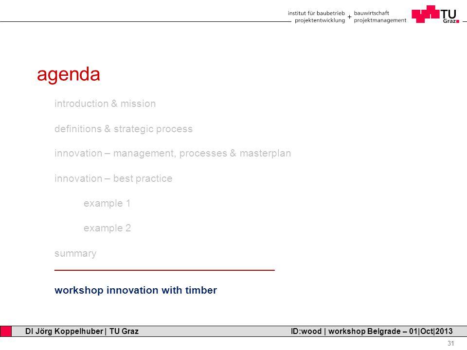 Professor Horst Cerjak, 19.12.2005 31 DI Jörg Koppelhuber   TU Graz ID:wood   workshop Belgrade – 01 Oct 2013 agenda introduction & mission definitions & strategic process innovation – management, processes & masterplan innovation – best practice example 1 example 2 summary ______________________________________ workshop innovation with timber